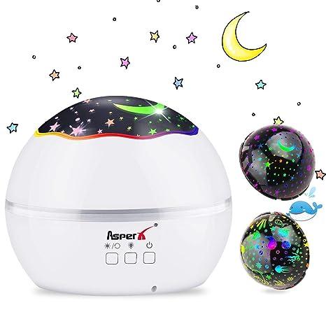 Lámpara Proyector, AsperX 2 en 1 Proyector Estrellas & Proyector de Luz Océano 360° Rotación Romántica Luz Estrellas y 8 Colores Regalo para Niños y ...