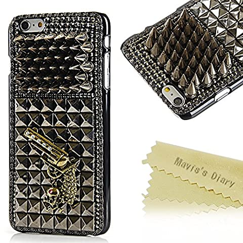 6 Plus Case,Iphone 6 Plus Case - Mavis's Diary 3D Handmade Cool Skull with Special Pyramid Studs and Spikes Rivets Design Hard Cover Black PC Case for Iphone 6 Plus(5.5'') with Soft Clean Cloth (Iphone 5 Cases Spike)