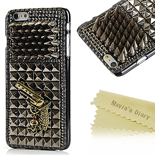 6 Plus Case,Iphone 6 Plus Case – Mavis's Diary 3D Handmade Cool Skull with Special Pyramid Studs and Spikes Rivets Design Hard Cover Black PC Case for…