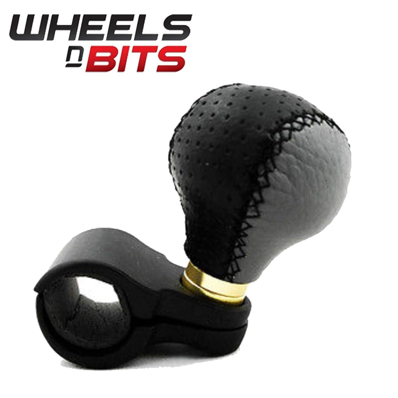 Boule de volant en cuir par Wheels N Bits, pour voiture, camionnette, camion, poids lourds, taxi, camping-car, handicapé s handicapés