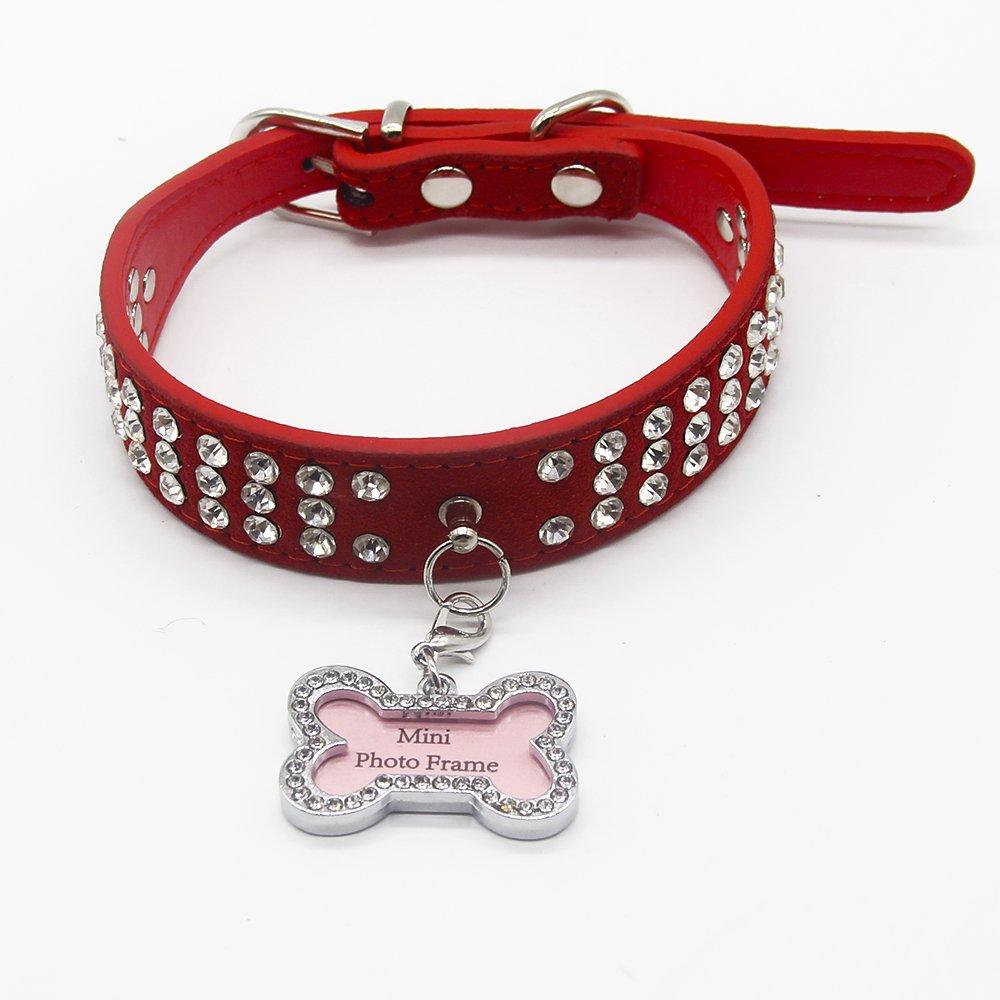 PET SPPTIES Bling de Cuero del Rhinestone Lleno de Mascotas de la PU del Diamante para el Gato Perro Perrito Collares PS002