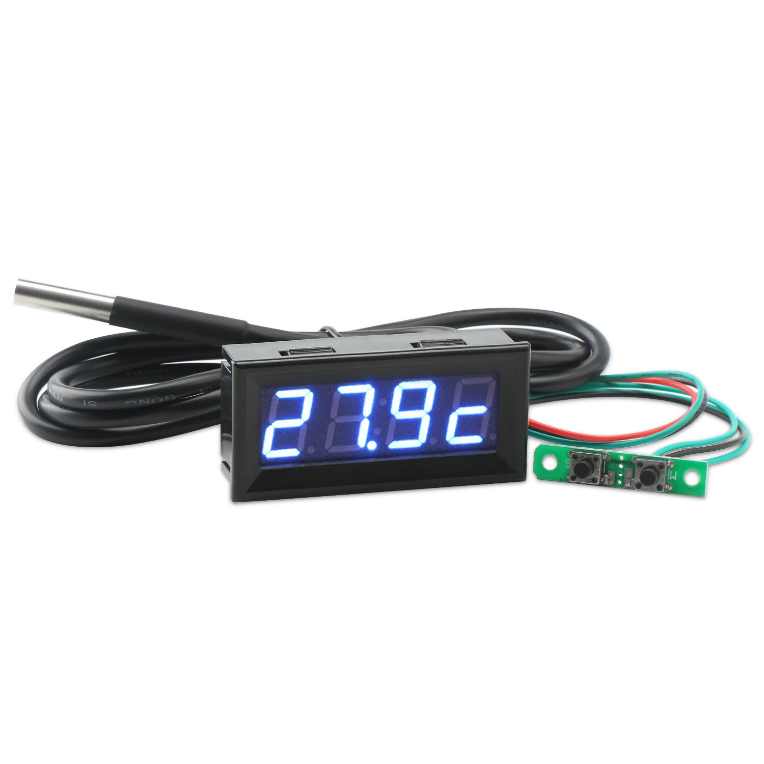 Droking 0, 56 DC 12V MCU Horloge Numé rique Voitures Tempé rature de Moniteur de Tension Bleu Affichage LED Multimè tre 56 DC 12V MCU Horloge Numérique Voitures Température de Moniteur de Tension Bleu Affichage LED Multimètre 090665_OZ