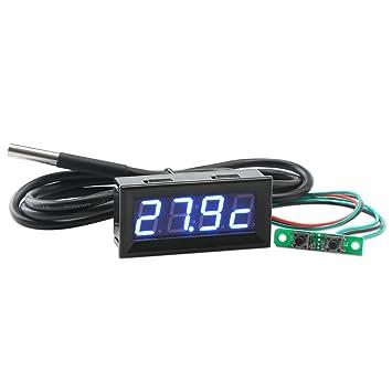 Droking Gota Electrica Multímetro Digital Coche Reloj Volt Calibre 18B20 Sensor Temperatura Azul LED