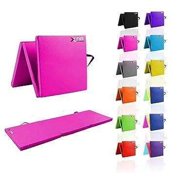 Esterilla para yoga plegable en 3 de Xn8 Sports. Espuma resistente con grosor de 6 cm; ideal apra practicar yoga, para el gimnasio, entrenamientos en casa, acampadas o abdominales, rosa