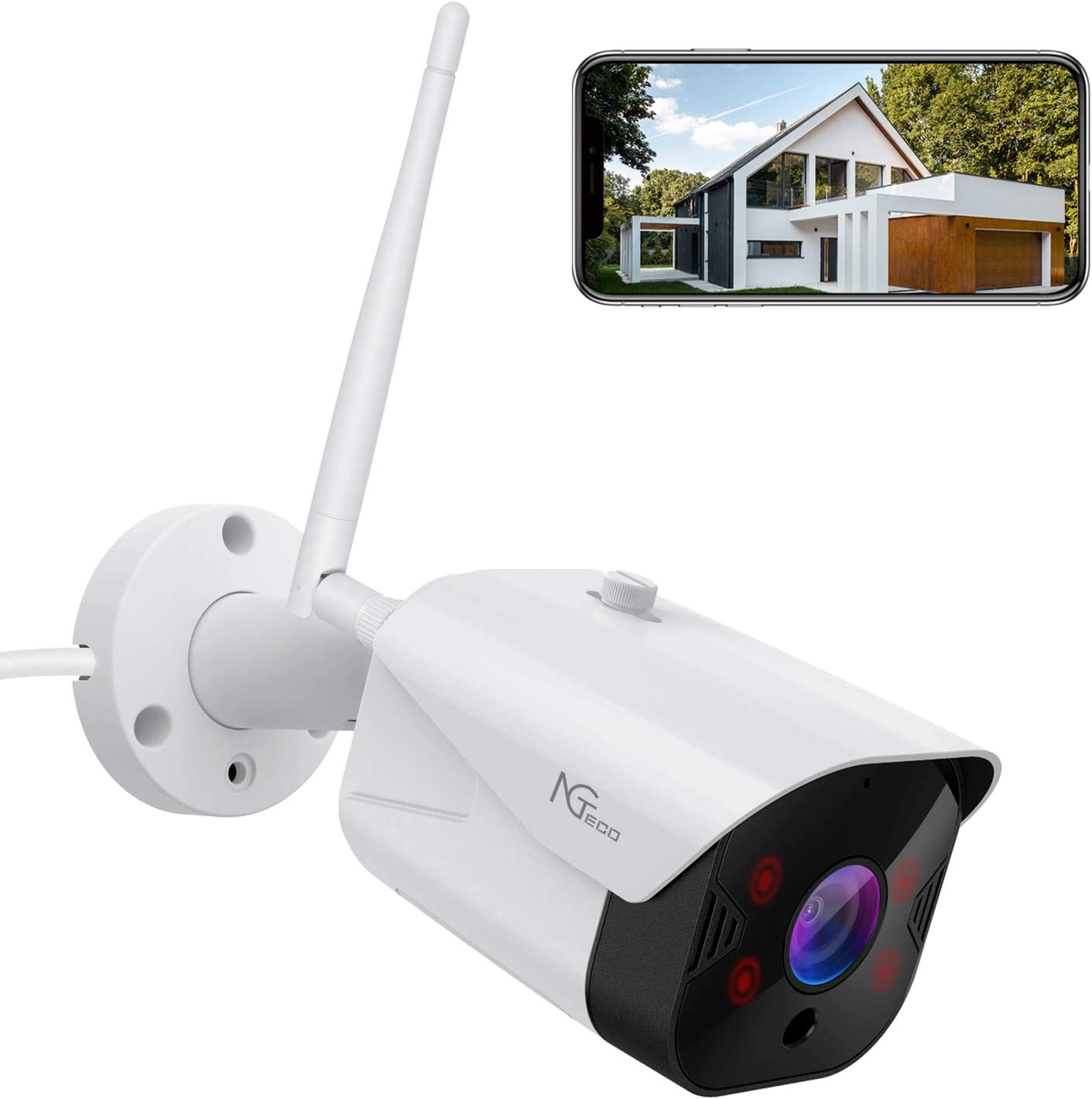 Security Camera Outdoor, 1080PHD 2.4G WiFi Wireless Cameras for Home Security - Smart Surveillance Cam Waterproof with Night Vision/2 Way Audio/Motion Detection/SD Cloud Storage/App Remote