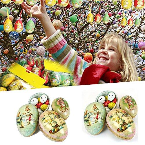 Sedeta Mini forma de huevo de Pascua pintado cáscara de huevo Joyero cajas de lata caja de dulces en decoración de fiesta...