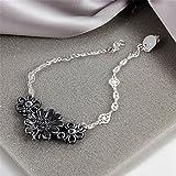 BLOOMCHARM Black Flowers Charm Pendant Bracelet Sterling Silver plated, Birthday Gifts for Women Men Friends Girls