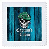 3dRose Russ Billington Nautical Designs - Pirate Skull Captains Cabin Design in Blue- not real wood - 20x20 inch quilt square (qs_261719_8)