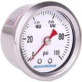 MEASUREMAN 1-1/2' Dial Size, 304 Stainless Steel case, Liquid Filled Fuel Pressure Gauge, 0-100Psi, 3-2-3%, 1/8'NPT…