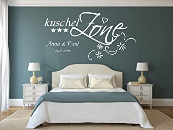 XXL Wandtattoo mit Namen, Datum und Sternen ~ Kuschelzone ~ fürs  Schlafzimmer, Wohnzimmer, 73032-140x70cm-schwarz, Namensaufkleber  Wandaufkleber ...
