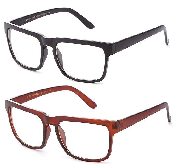 befbb0e55db4 Amazon.com  Newbee Fashion - Unisex Squared Frame Plain Clear Lens ...