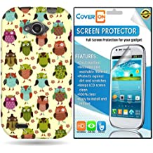 CoverON ZTE Savvy Hard Plastic Slim Case Cover Bundle with Clear Anti-Glare LCD Screen Protector - Fancy Owl