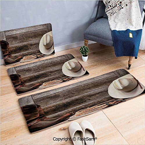3 Piece Non Slip Flannel Door Mat Authentic American Rodeo Items Lasso Hat Boots Horseshoe Rustic Wooden House Decorative Indoor Carpet for Bath Kitchen(W15.7xL23.6 by W19.6xL31.5 by W15.7xL39.4) ()
