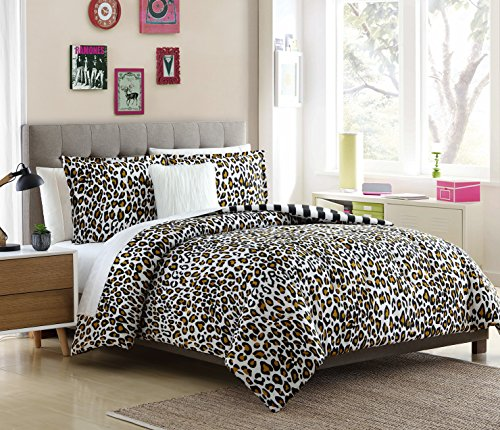 Cheetah Print Comforter - Lemon & Spice Nala 4 Piece, Full/Queen Comforter Set, Leopard