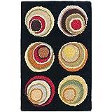 Safavieh Soho Collection SOH921A Handmade Modern Abstract Black and Multi Premium Wool Area Rug (2' x 3')