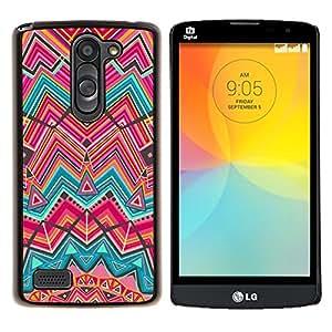 - lines teal pink Indian ethnic - - Modelo de la piel protectora de la cubierta del caso FOR LG L Bello L Prime D337 RetroCandy