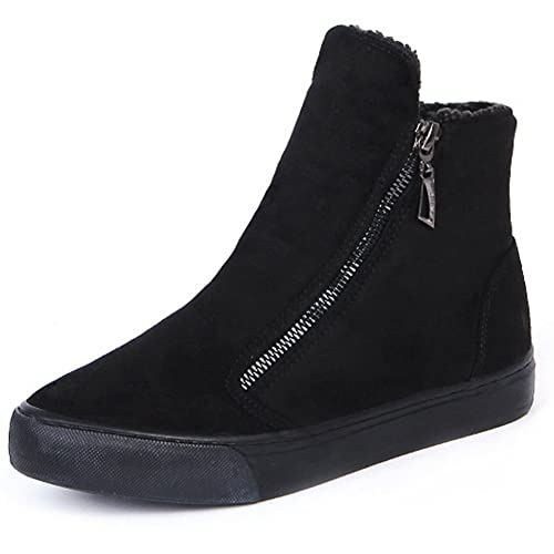 Walisen Mujer Botines Calor Gamuza Termicas Piel Invierno Botas Cremallera Plano Zapatos Mujer Chica
