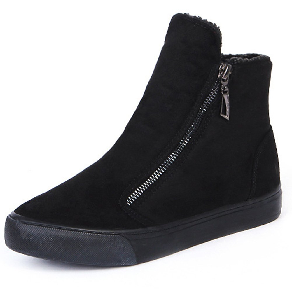 Women's Suede Leather Full Fur Hidden Low Heel Boots Lady Fashion Classic British Style Winter Booties