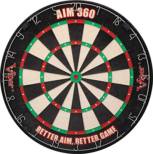 Viper AIM 360 Sisal/Bristle Steel Tip Dartboard with Razor-Thin Spider, Training Marks and Movable Target Rings (Dart Diamond)