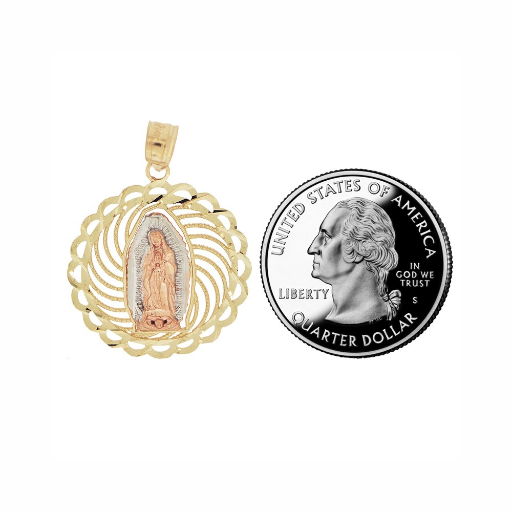 Virgin Mary Pendant Religious Charm Sparkly Cuts 14k Tricolor Gold