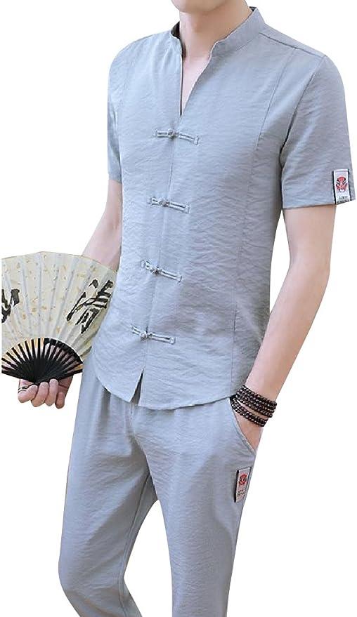 Andopa Tai chi color sólido camisa tejida bragas ocasionales 2 - pieza para Hombres Gris Supergrande: Amazon.es: Ropa y accesorios
