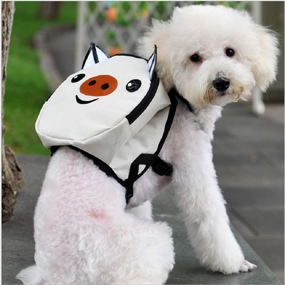 ASOCEA Cute Cartoon Pet Backpack Harness Small Dog Self Mini Carrier Pocket Saddle Bags for Travel Outdoor Hiking