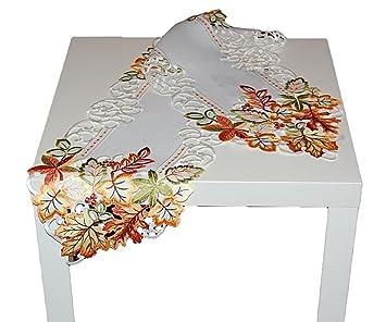 Tischdecke Tischläufer Stickerei Ecru mit Blüten  in Bordeaux