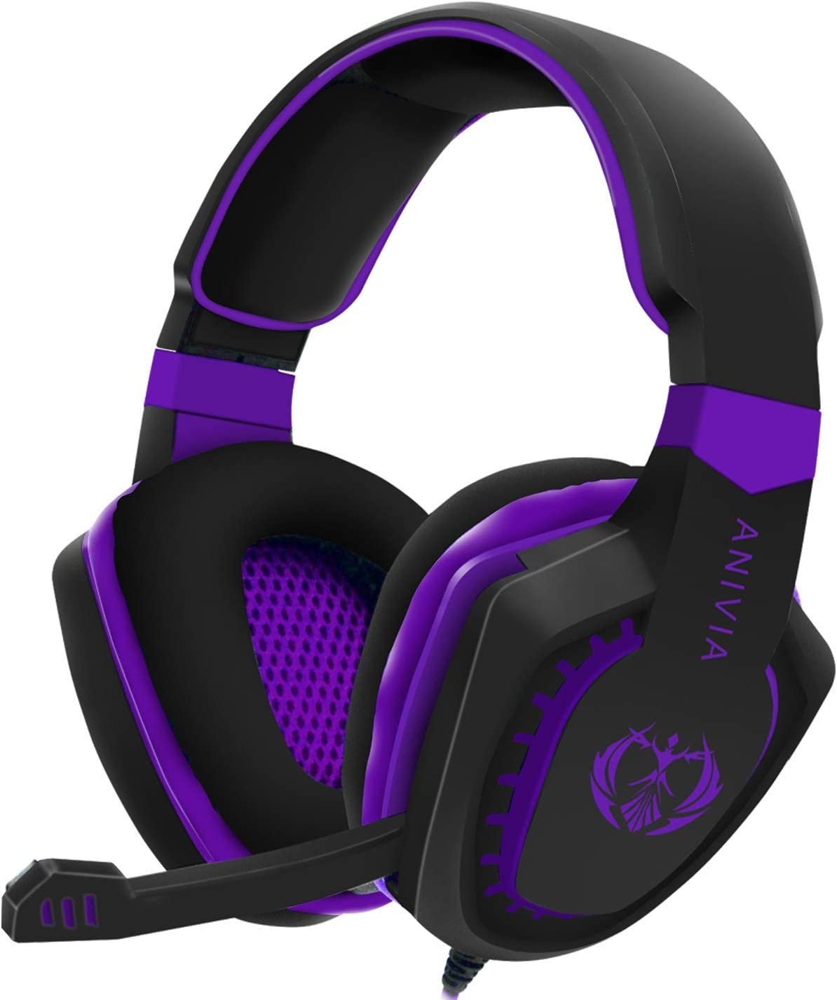 Gaming Headset Bass Surround Sound Stereo PS4 Headset with Flexible Microphone Volume Control Noise Canceling Mic Over-Ear Headphones Compatible for PS4 Xbox one Laptop PC Mac Purple (Renewed)