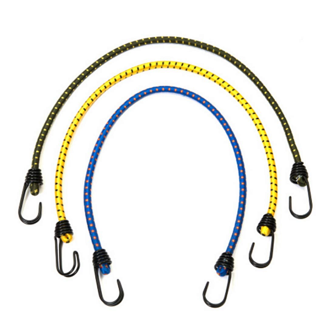 Bungee Cords With Hooks Assortment 3 Pcs Length 23.62 Inch Dia 0.31 Inch Random Color For Cargo Camping Rvs Trunks Luggage Racks - Elastic Shock Cord Tarp Tie Downs