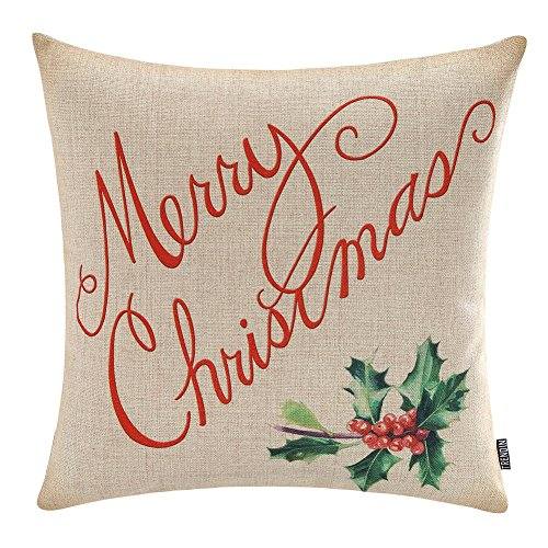 TRENDIN Merry Christmas Throw Pillow Cover Gifts Holly Xmas Home Decor Design Cotton Linen 18 x 18 Cushion Cover for Sofa PL074TR