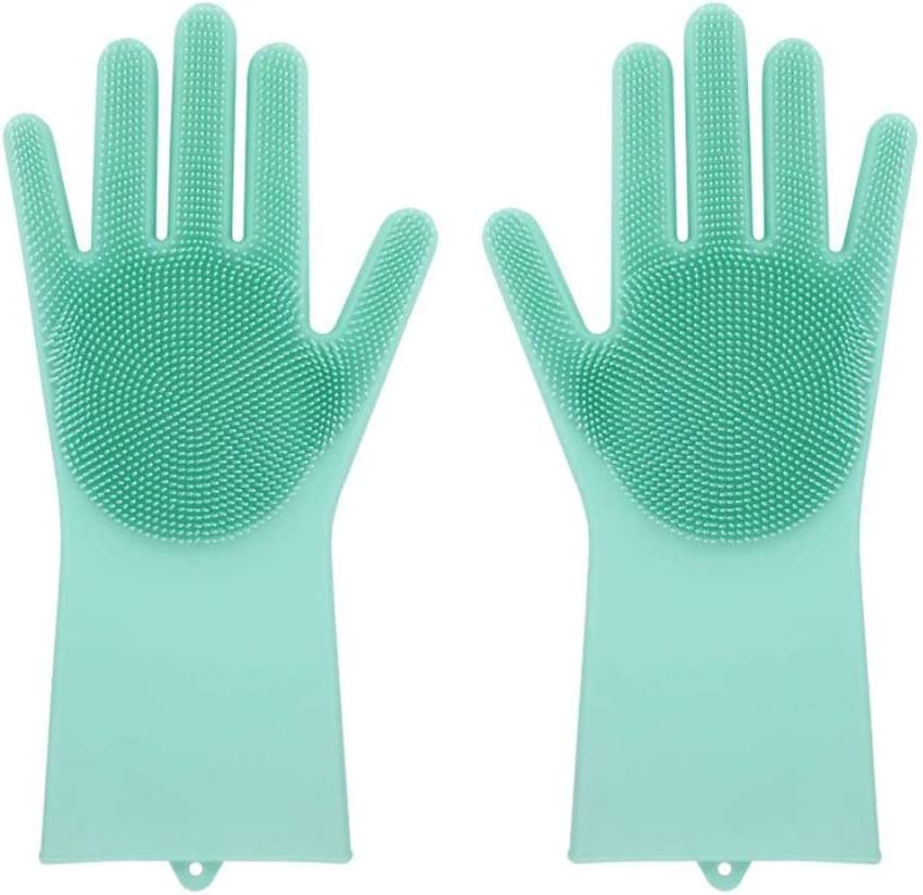 Silicone Dishwashing Gloves - Reusable & Heat Resistant Cleaning Rubber Mittens with Scrubber for Washing Dishes, Fruits, Vegetables   Suitable for Kitchen, Car, Bathroom & Pet Grooming (Green)