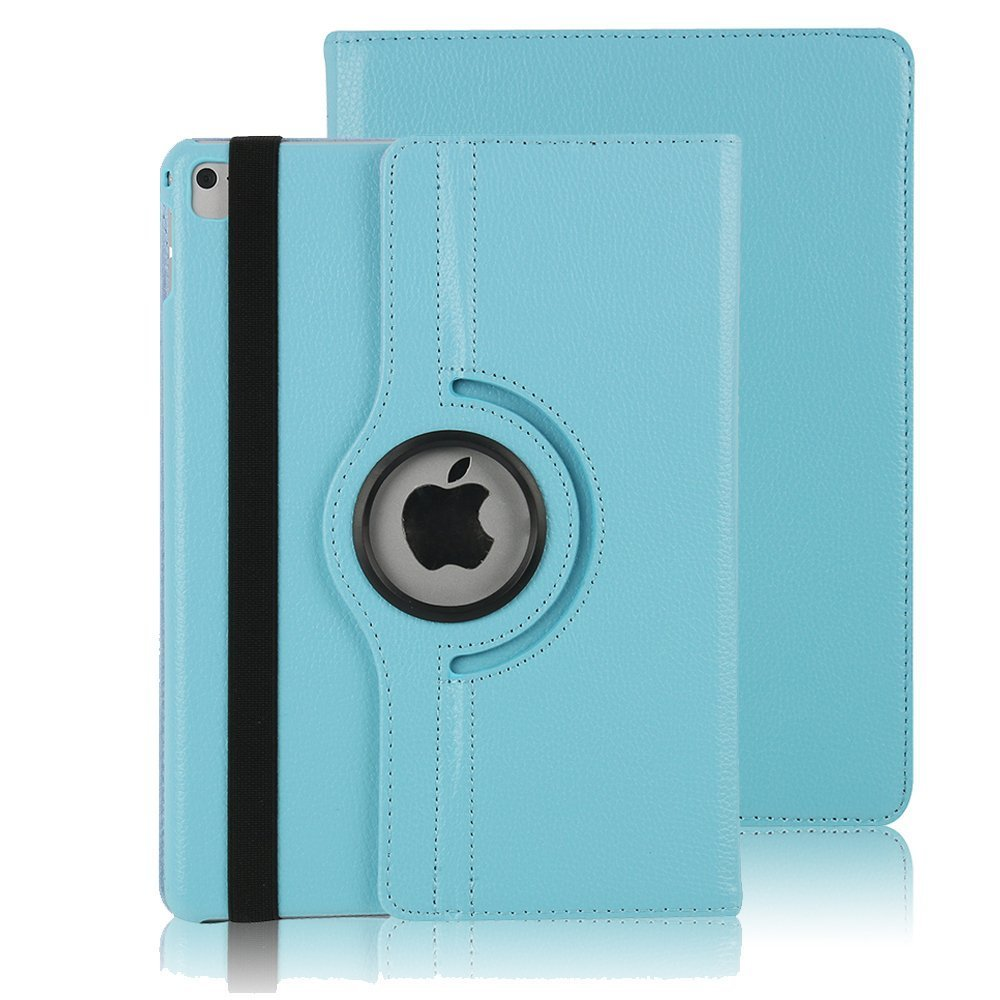 iPad Pro 9.7'' Flip Case, TechCode 360 Rotating Magnetic PU Leather Book Style Smart Case Screen Protection Cover for Apple iPad Pro 9.7 inch 2016, Sky Blue