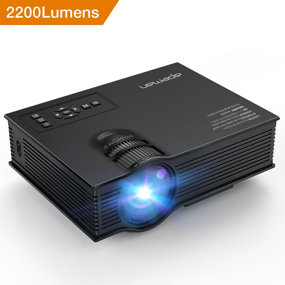 Upgraded APEMAN Projector 2200 Lumens Full HD LED Mini Portable Video LCD Projector for Home Theater Support 1080P HDMI VGA USB SD Card AV Input Audio Output Pico Projector for Video Game TV Box by APEMAN