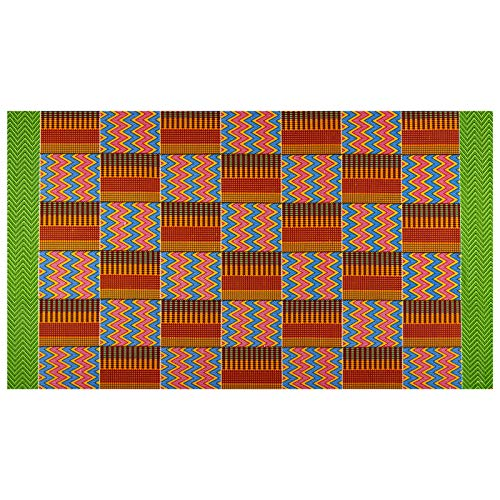 Sonna USA Supreme Kente African Print 6 Yard Red/Blue/Green Border ()