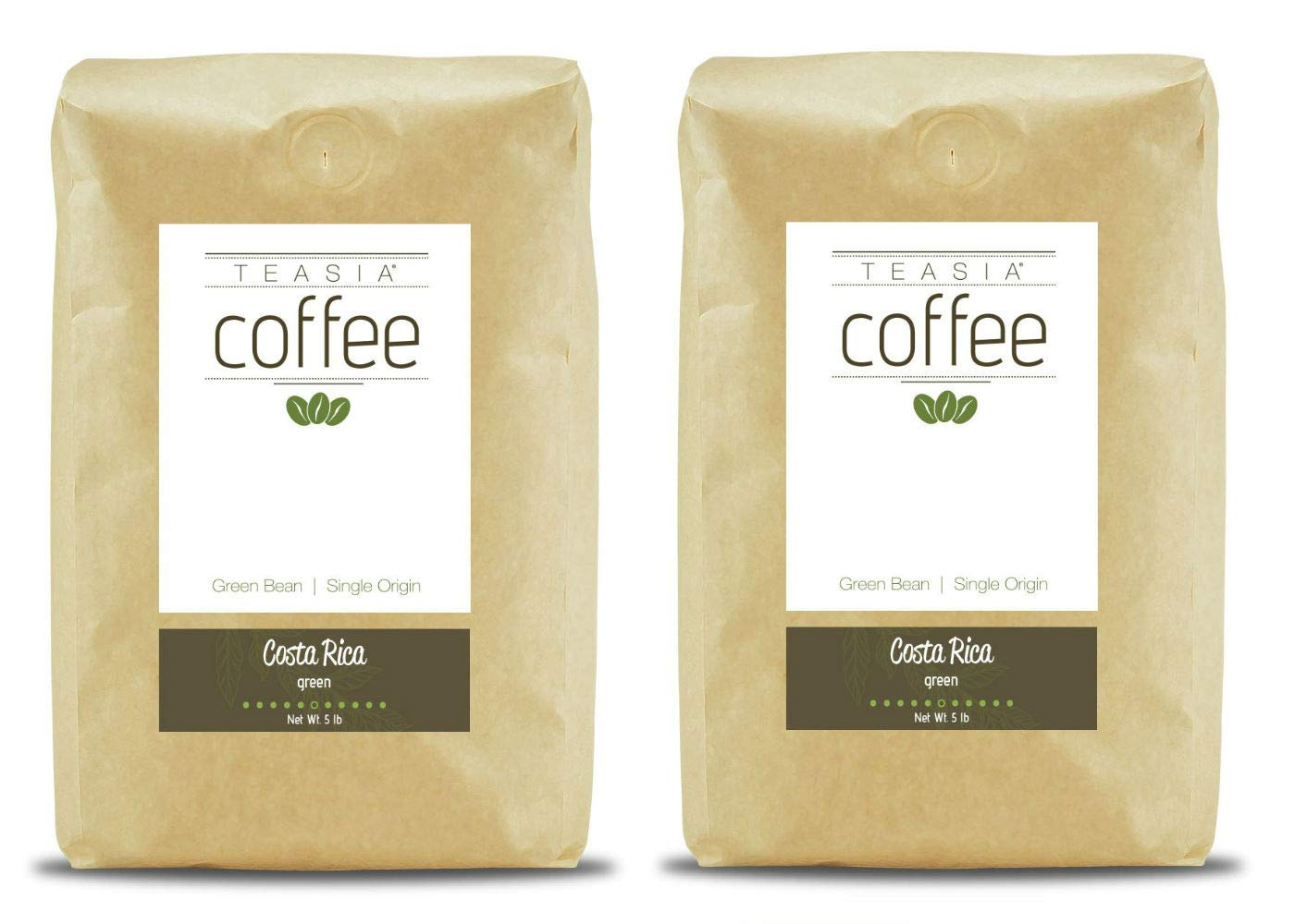 Teasia Coffee, Costa Rica, Single Origin Fair Trade, Green Unroasted Whole Coffee Beans, 5-Pound Bag (2-Pack)