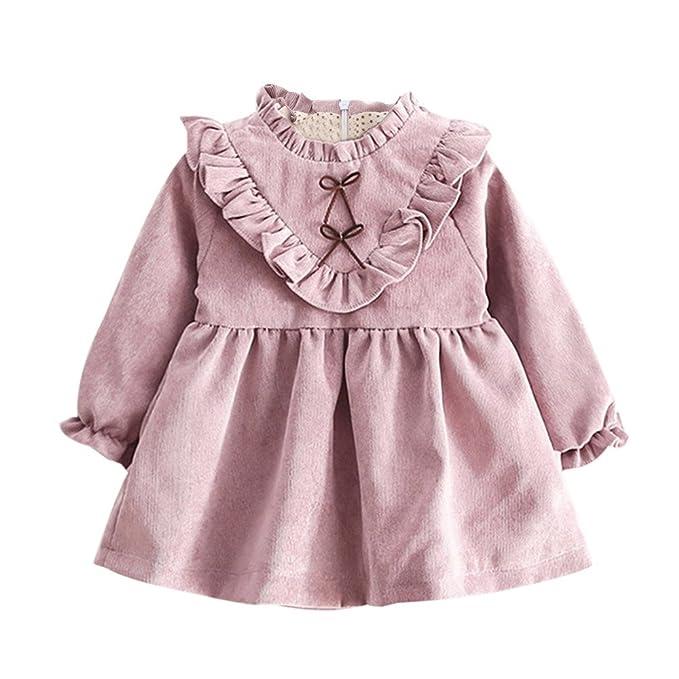 Vestidos para niñas, Vestimenta para niñas Mangas largas Vestido de Color sólido Vestido de Fiesta para niñas Vestido de Princesa Falda para niñas 2018: ...