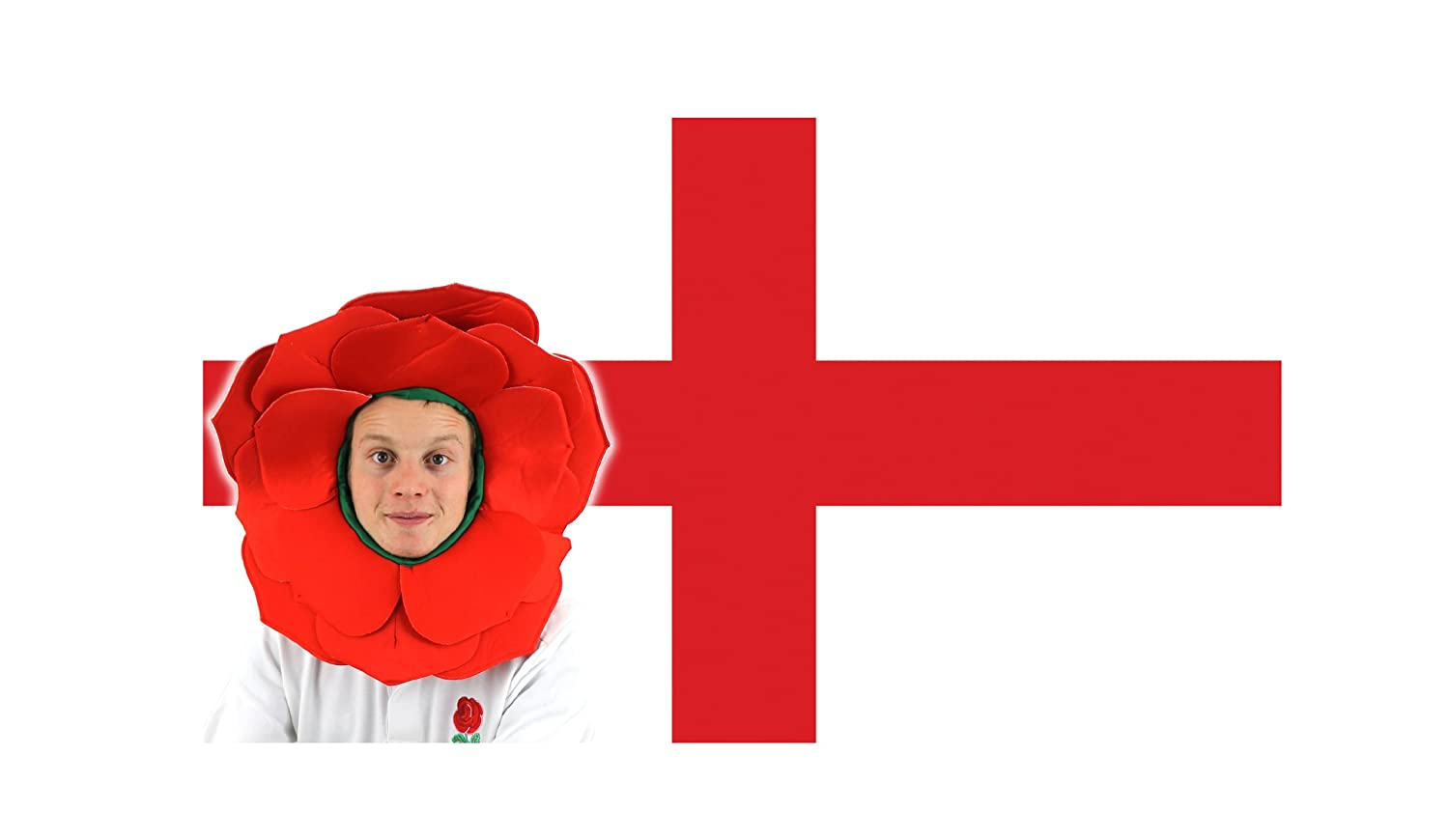 rose hat england flag fancy dress accessory football rugby