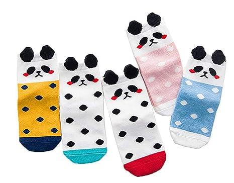 COMVIP Kids Striped Polka Dot Cotton Cute Casual Crew Socks 5 Pairs
