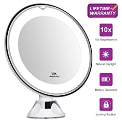 KEDSUM 10x Magnifying Lighted Makeup Mirror Battery Operated