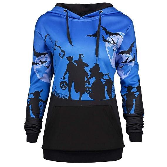OverDose mujer Con Capucha Luna Halloween Bat Tops De ImpresióN Drawstring Holgura De Bolsillo Sudadera con Capucha Casual Sudadera: Amazon.es: Ropa y ...