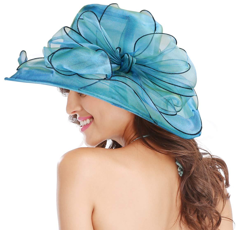 Bellady Women Ruffles Brim Organza Church Derby Hat Elegant Church Hats,Blue Church Hat