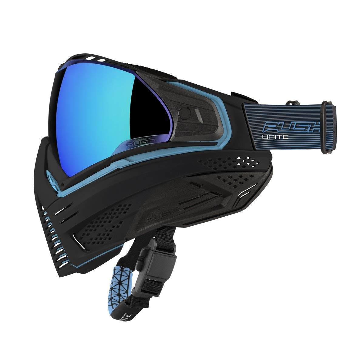 Push Unite Paintball Goggles MASK with Quad PANE Lens and CASE (Blue) by Push Paintball