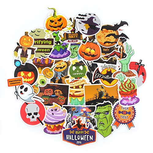 (Ghosts and Monsters Stickers for Halloween Personalized Decoration,COMKI Cool Vinyls Graffiti Sticked to Window,Glass,Wall,Laptops,PC,Skateboard,Luggage,Car(Series A1 - Halloween Ghosts 100pcs) )