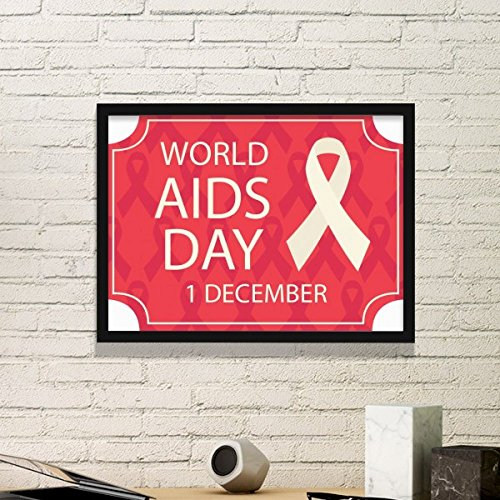(DIYthinker Solidarity Symbol World AIDS Day 1st December Red Ribbon HIV Awareness Simple Picture Frame Art Prints of Paintings Home Wall)