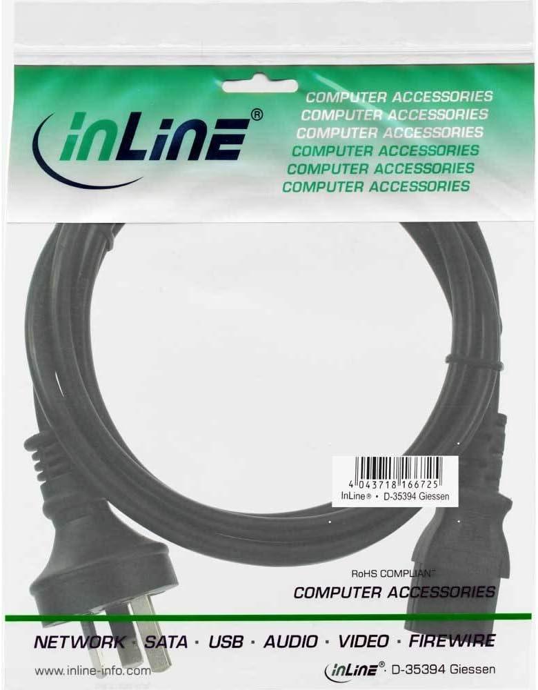InLine 16655D Netzkabel 5m Netzstecker Australien//Argentinien auf Kaltger/ätestecker C13