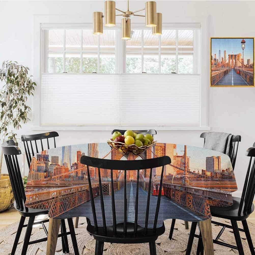 """Diameter 70"""" Round Tablecloth,New York Skyline Closeup Brooklyn Bridge in Manhattan Over Hudson River Orange Pale Blue Grey,Tablecloths are Perfect for Parties"""