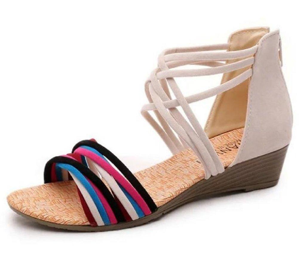 Kuro&Ardor Sandals for Women Gladiator Wedge Low Heel Comfort Shoes Summer Zipper Back Zip (7.5 B (M) 25cm, Beige)