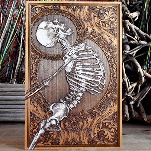 Oddities and Curiosities Wall Art, Halloween Decor, Human Anatomy Inspired Art, Dark Souls, Goth Art, Skeleton Poster, Hand Painted Woodcut Print, Unique Design,11.5 x 7.5