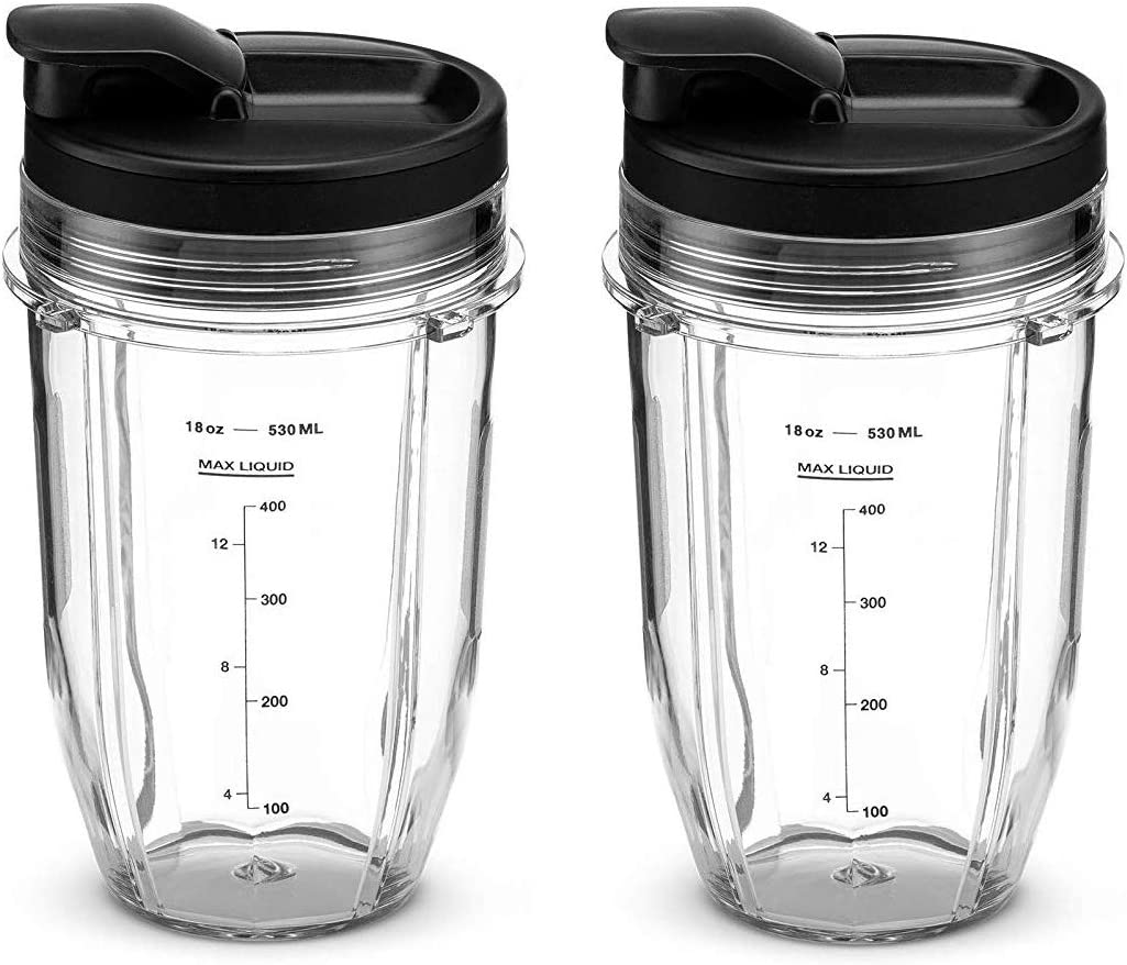 NLSD Replacement Nutri Ninja 18 oz. Cups with Sip & Seal Lids Compatible with BL450, BL480, BL482, BL640, BL680 Auto IQ Series Blenders (Pack of 2)