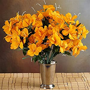 144 Wholesale Artificial Silk Amaryllis Flowers Wedding Vase Centerpiece Decor - Orange 29